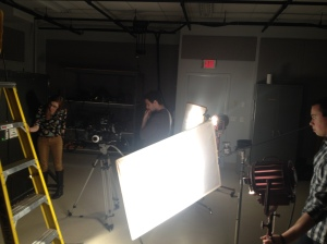 Carly, David and Matt lighting the scene