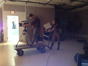 Carly and David, rocking the homemade dolly
