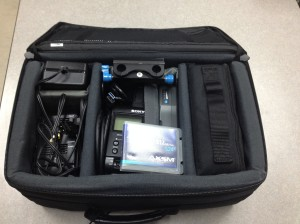 All of our SONY gear nestled inside of its shipping case.